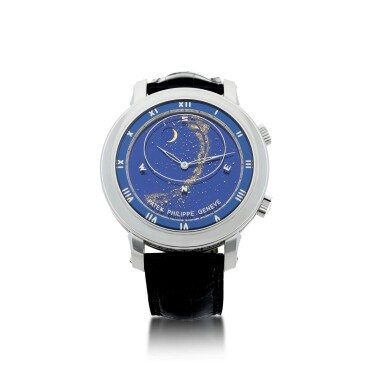 View 2. Thumbnail of Lot 178. REFERENCE 5102G-001 CELESTIAL A WHITE GOLD AUTOMATIC ASTRONOMICAL WRISTWATCH WITH SKY CHART, PHASES AND POSITION OF THE MOON, AND TIME OF MERIDIAN PASSAGE OF SIRIUS, MADE IN 2003.