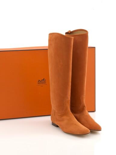Orange suede boots, Hermès