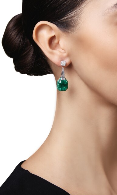View 3. Thumbnail of Lot 426. PAIR OF EMERALD AND DIAMOND EARRINGS, MARTIN KATZ   祖母綠配鑽石耳環一對,Martin Katz.