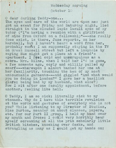 """View 1. Thumbnail of Lot 13. Sylvia Plath   Typed letter signed, to Ted Hughes, """"we will burn love to death all our long lives"""", 10 October 1956."""