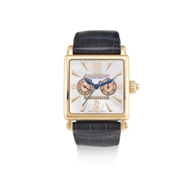 View full screen - View 1 of Lot 612.  ROGER DUBUIS | GOLDEN SQUARE, REFERENCE G34 28 5 NG 1D.52,  A LIMITED EDITION PINK GOLD AND DIAMOND-SET SINGLE BUTTON CHRONOGRAPH WRISTWATCH WITH MOTHER-OF-PEARL DIAL, CIRCA 2006.