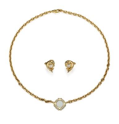 PAIR OF GOLD, SAPPHIRE AND DIAMOND EARRINGS, 'HAPPY DIAMONDS'; AND A GOLD AND DIAMOND NECKLACE, CHOPARD   K金 配 藍寶石 及 鑽石 耳環一對, 'Happy Diamonds'; 及 K金 配 鑽石 項鏈, 蕭邦 (Chopard)