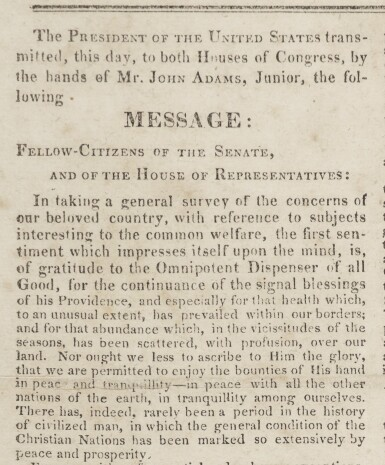 View 2. Thumbnail of Lot 116. ADAMS, JOHN QUINCY | John Quincy Adams's signed copy of his President's Message, in National Intelligencer Extra. [Washington], December 6, 1825.