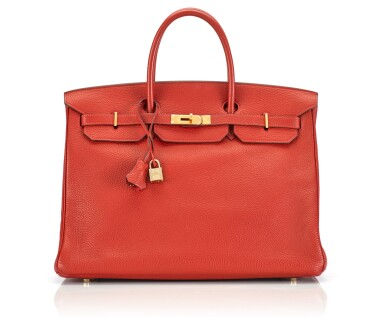 BIRKIN 40 GERANIUM COLOUR IN CLEMENCE LEATHER WITH GOLD HARDWARE. HERMÈS, 2006