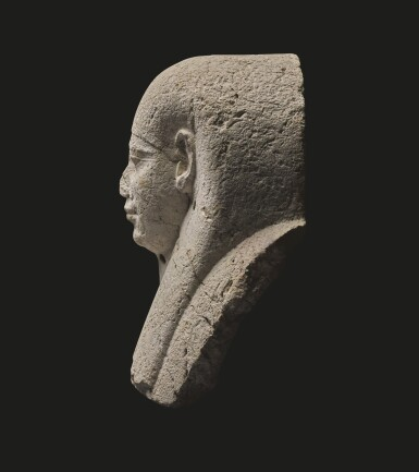 View 4. Thumbnail of Lot 59. AN EGYPTIAN LIMESTONE SARCOPHAGUS MASK, 30TH DYNASTY/EARLY PTOLEMAIC PERIOD, CIRCA 250-200 B.C..