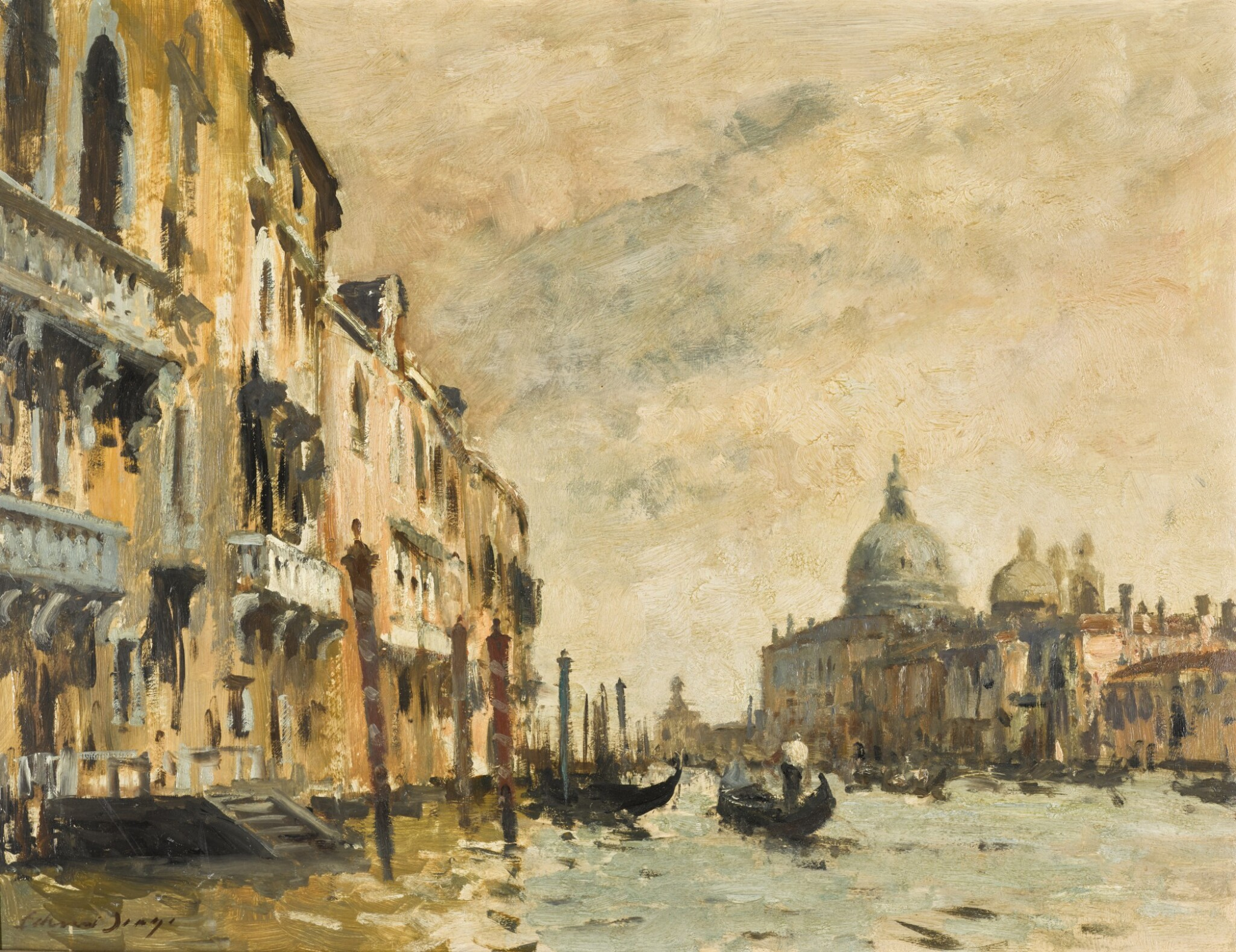 View 1 of Lot 78.  A Grey Day on the Grand Canal, Venice.