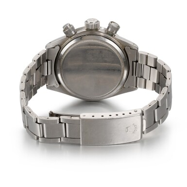 View 5. Thumbnail of Lot 370. ROLEX   REFERENCE 6265 DAYTONA, A STAINLESS STEEL CHRONOGRAPH WRISTWATCH WITH REGISTERS AND BRACELET, CIRCA 1972.