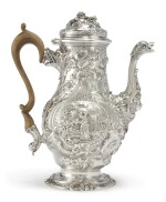 A GEORGE II SILVER CHINOISERIE COFFEE POT, WILLIAM GRUNDY, LONDON, 1753