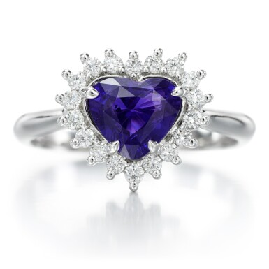 View 1. Thumbnail of Lot 95. Colour change sapphire and diamond ring.