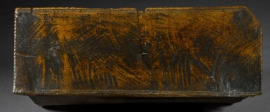 View 4. Thumbnail of Lot 5. A rare English oak boarded and relief carved chest, late 15th / early 16th century.