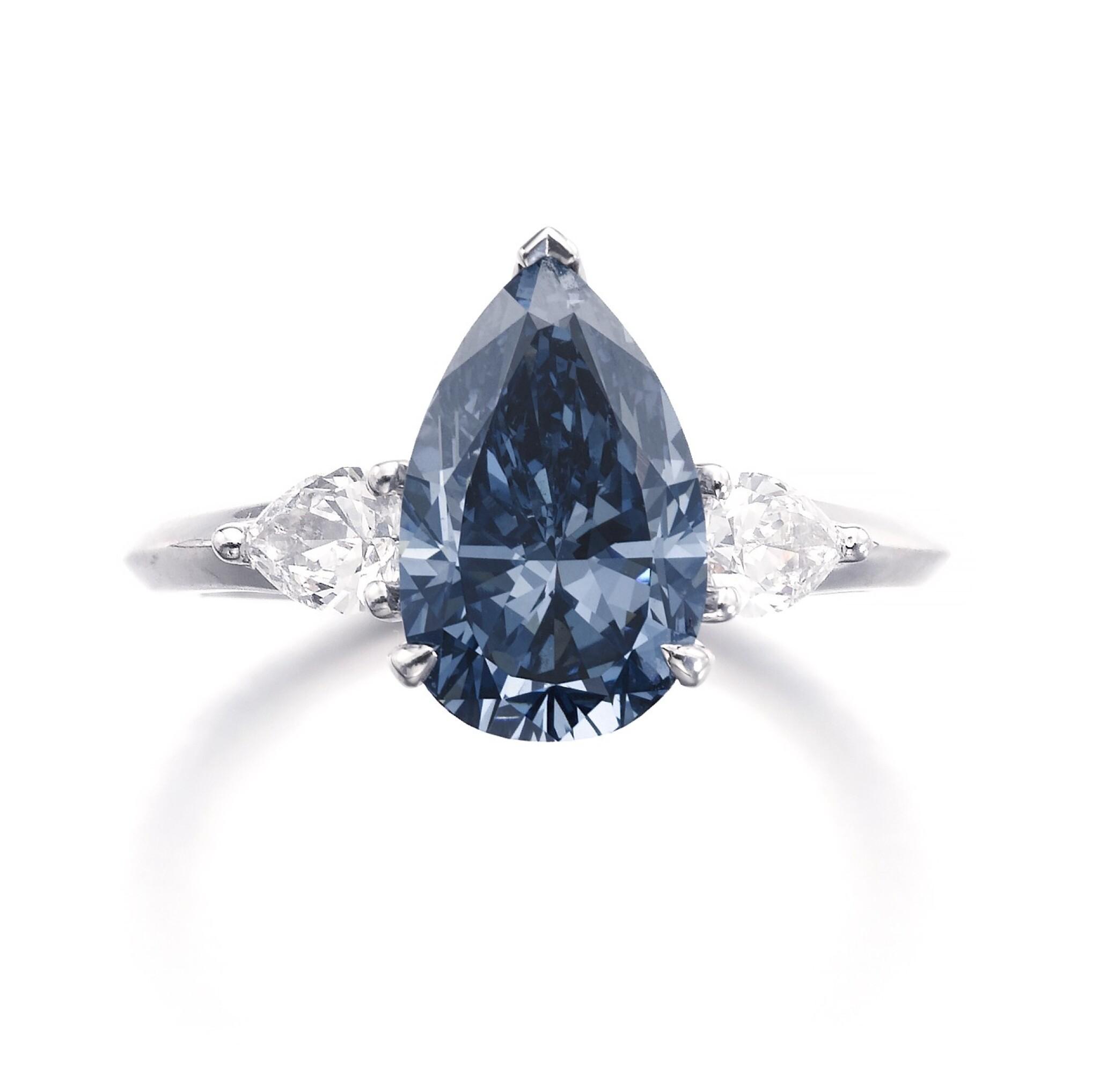 View full screen - View 1 of Lot 157.  Graff | Fine fancy deep blue diamond ring | 格拉夫 | 深彩藍色鑽石戒指.