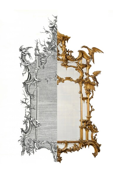View 3. Thumbnail of Lot 164. A late George II carved giltwood wall mirror, after a design by Thomas Johnson, circa 1760.