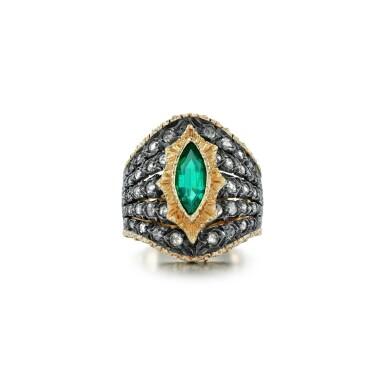 View 1. Thumbnail of Lot 64. Mario Buccellati   Emerald and diamond ring.