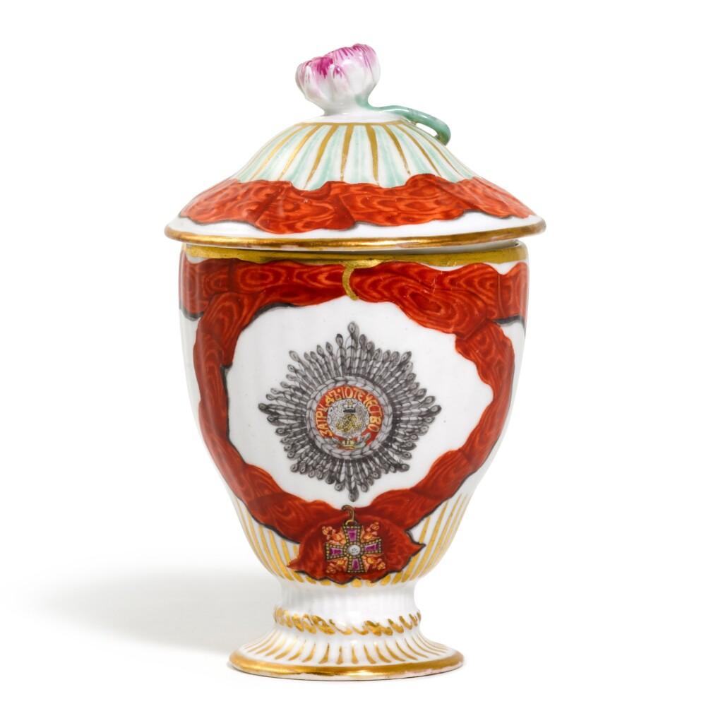 A RARE PORCELAIN COVERED ICE CUP FROM THE SERVICE FOR THE ORDER OF ST ALEXANDER NEVSKY, GARDNER PORCELAIN FACTORY, VERBILKI, 1778-1780