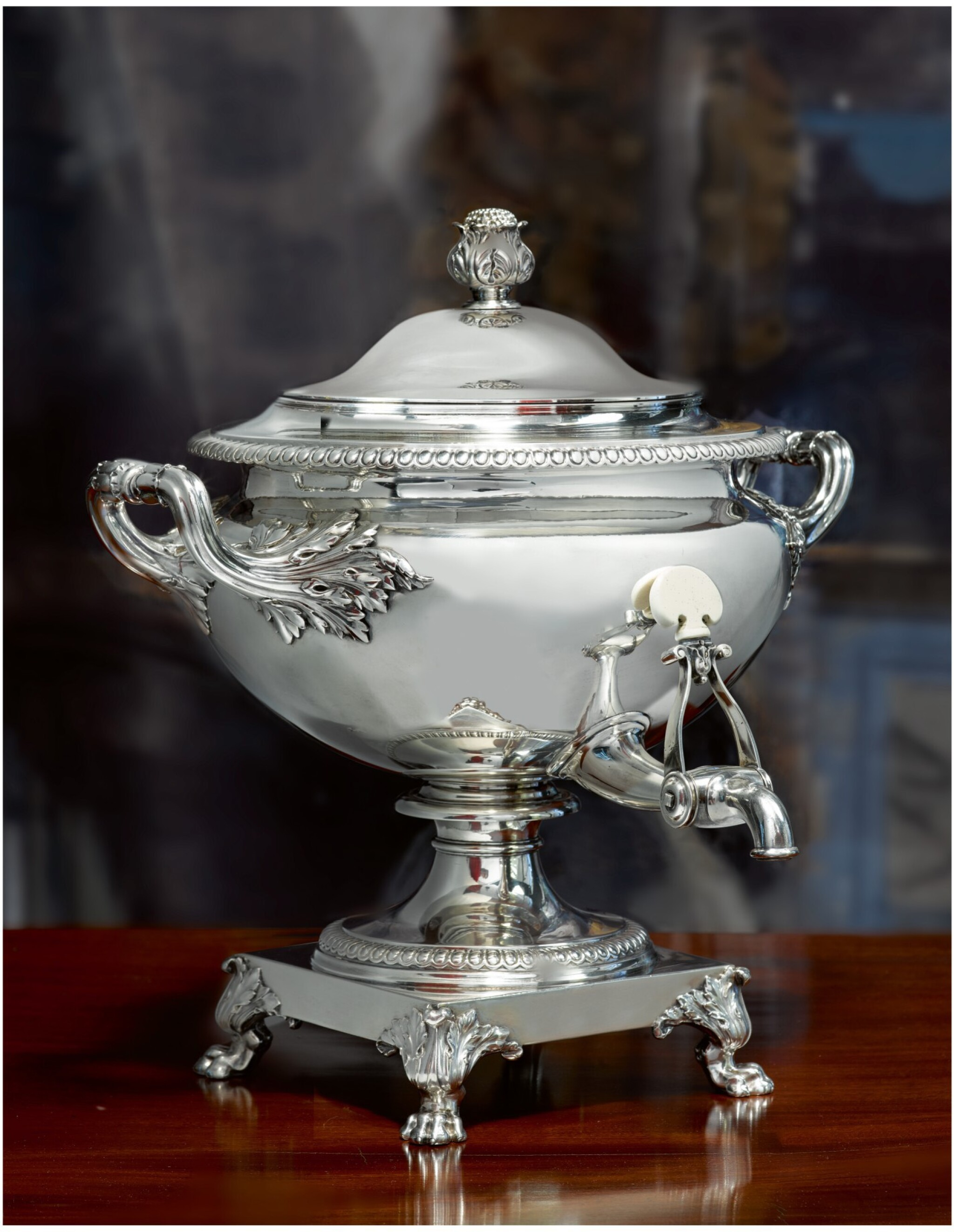 View full screen - View 1 of Lot 18.  A GEORGE IV SILVER HOT WATER URN, PAUL STORR, LONDON, 1822.