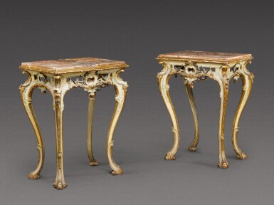 View 1. Thumbnail of Lot 180. A pair of South Italian carved parcel-gilt and painted console tables, Neapolitan, circa 1760.