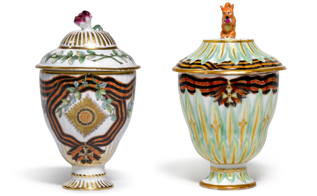 TWO RARE PORCELAIN COVERED ICE CUPS FROM THE SERVICE OF THE ORDER OF ST GEORGE, GARDNER PORCELAIN FACTORY, VERBILKI, CIRCA 1777