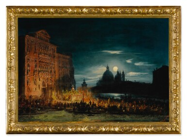 View 4. Thumbnail of Lot 667. A pair of nocturnal Venetian scenes on the Feast of the Redentore.