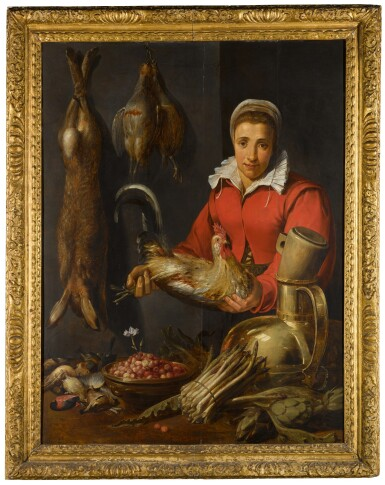 View 2. Thumbnail of Lot 132. A female merchant holding a cockerel, with game, asparagus, artichokes, utensils and a bowl of wild strawberries.