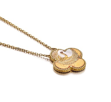 View 2. Thumbnail of Lot 1697. Limited Edition 'Alhambra' Mother-of-Pearl and Lacquer Pendent Necklace  梵克雅寶   'Alhambra' 限量版貝母 配 蒔繪 項鏈.