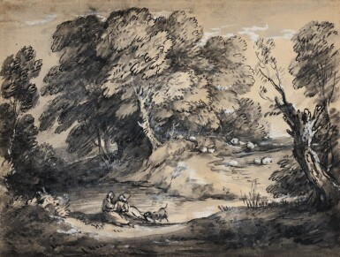 View 1. Thumbnail of Lot 85. Wooded Landscape with Cattle and Sheep at a Watering Place, and Rustic lovers.