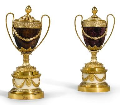 View 1. Thumbnail of Lot 83. A PAIR OF GEORGE III ORMOLU MOUNTED BLUE JOHN PERFUME BURNERS LATE 18TH CENTURY, ATTRIBUTED TO MATTHEW BOULTON.