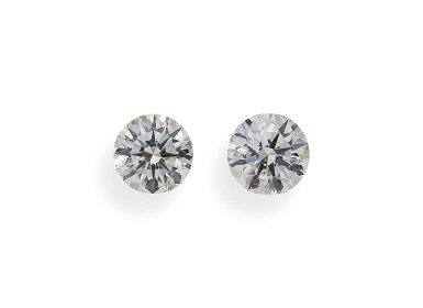 A Pair of 1.14 Carat and 1.11 Carat Round Diamonds, E Color, SI1 Clarity