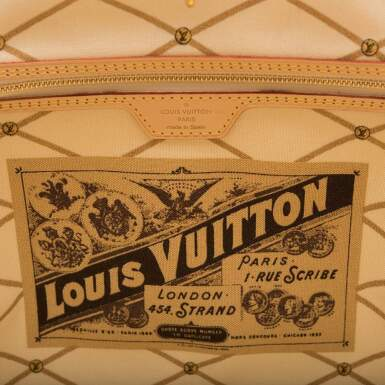 View 8. Thumbnail of Lot 213. Louis Vuitton Damier Azur St. Tropez Summer Trunk Neverfull MM of Coated Canvas and Vachetta Leather Trim with Polished Golden Brass Hardware.