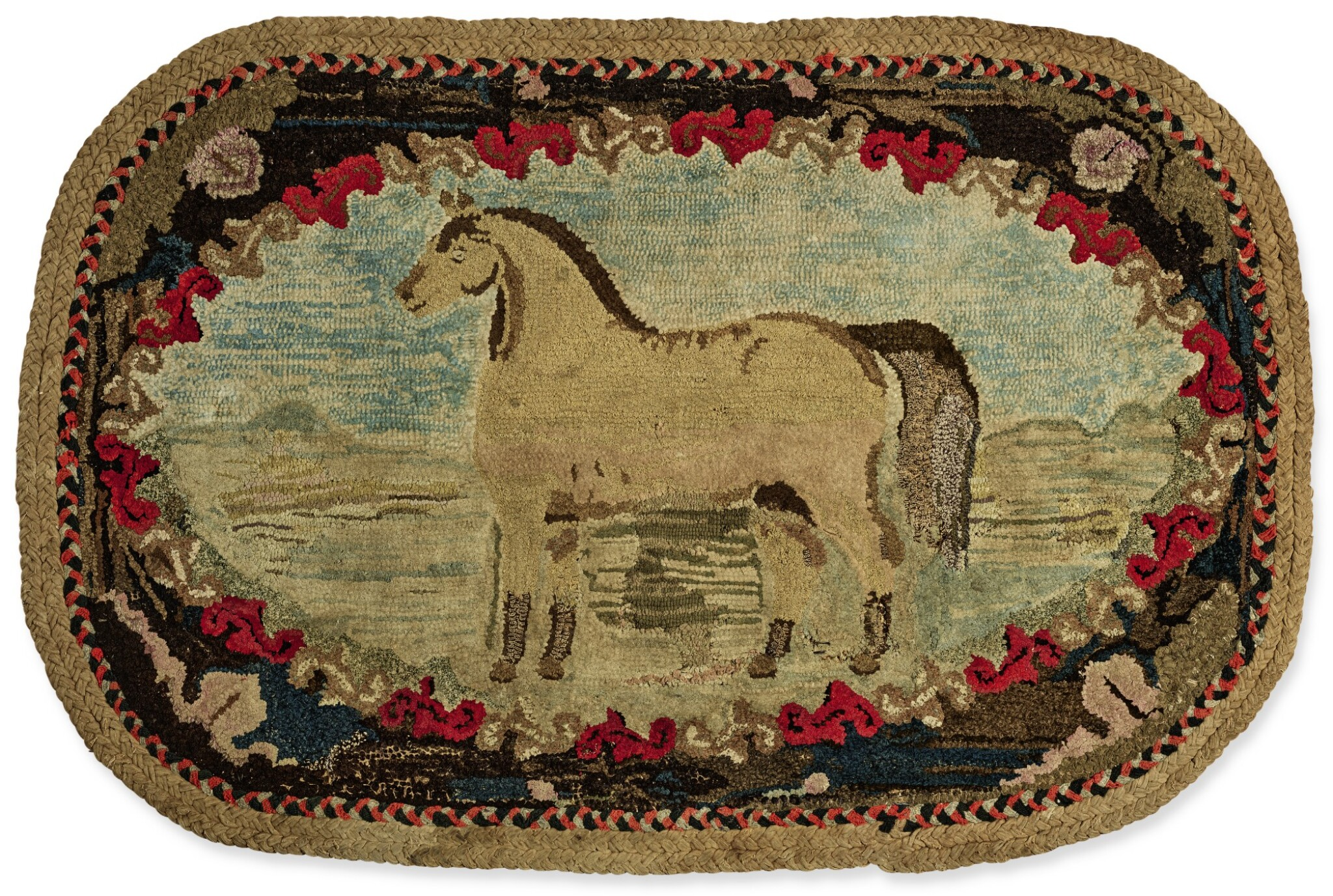 View full screen - View 1 of Lot 1499.  PICTORIAL HOOKED RUG OF A HORSE IN LANDSCAPE, EARLY 20TH CENTURY.