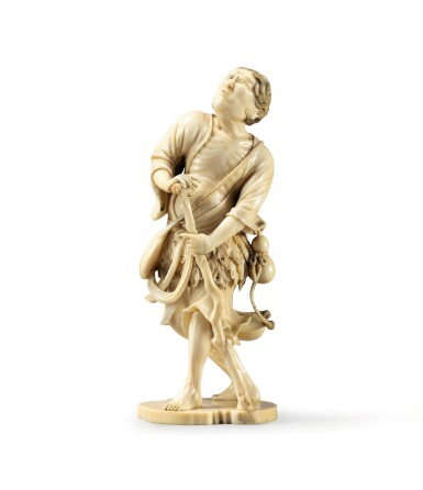View 6. Thumbnail of Lot 80. An ivory netsuke study of Chokwaro Sennin, Japan, Edo period, 18th century.