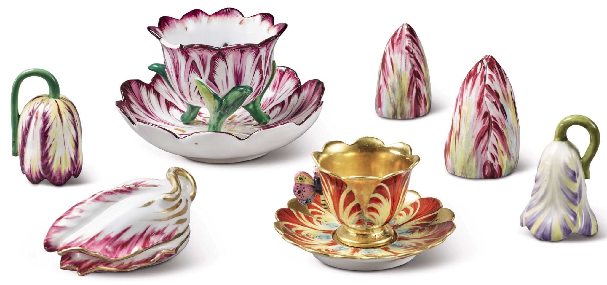 View full screen - View 1 of Lot 143. A GROUP OF ENGLISH PORCELAIN TULIP-WARES, EARLY 19TH CENTURY.
