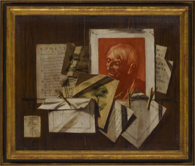 View 6. Thumbnail of Lot 96. A pair of trompe-l'œil still lifes with portrait and landscape sketches, sonnets, mathematical sketches.