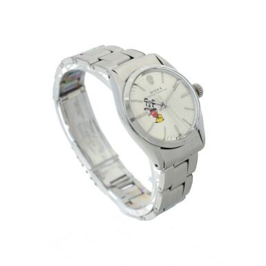 View 3. Thumbnail of Lot 95. ROLEX   REFERENCE 6548 OYSTER PERPETUAL 'MICKEY MOUSE'  A STAINLESS STEEL AUTOMATIC WRISTWATCH WITH BRACELET, CIRCA 1964.