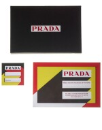PRADA   MAN FALL WINTER 2020 FASHION SHOW INVITE AND SEAT CARD DESIGNED BY AMO, SOUNDTRACK INSPIRATION VINYL BY FRÉDÉRIC SANCHEZ  AND SET OF FITTING PHOTOGRAPHS