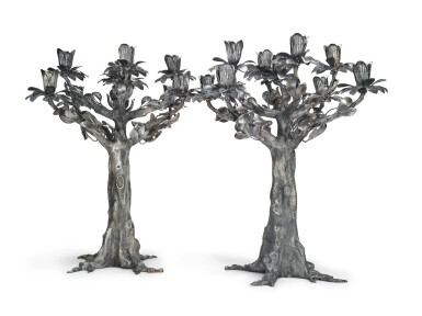 View 1. Thumbnail of Lot 417. A PAIR OF MASSIVE ITALIAN SILVER TREE-FORM NINE-LIGHT CANDELABRA, EUGENIO STANCAMPIANO, PALERMO, LATE 20TH CENTURY.