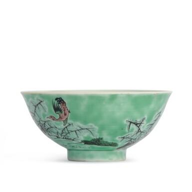 View 3. Thumbnail of Lot 202. A biscuit-glazed famille-verte 'ducks' bowl, 20th century | 二十世紀 素三彩鴛鴦蘆葦圖盌 《大清康熙年製》仿款.