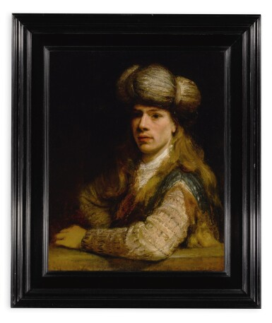 View 2. Thumbnail of Lot 34. Portrait of a young man behind a balustrade, possibly a self-portrait of the artist.
