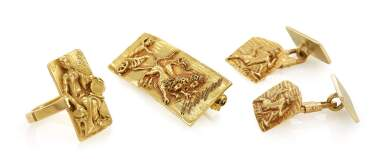 PAIR OF CUFFLINKS, RING AND BROOCH (PAIO DI GEMELLI, ANELLO E SPILLA), GERMANO ALFONSI