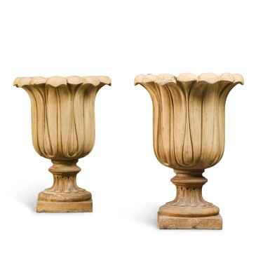 View 2. Thumbnail of Lot 89. A PAIR OF BUFF TERRACOTTA GARDEN URNS, SECOND QUARTER 19TH CENTURY.