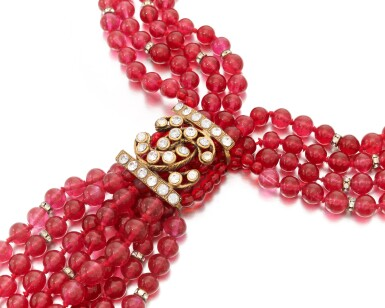 View 2. Thumbnail of Lot 38. Red vitrum pastae and crystal necklace.