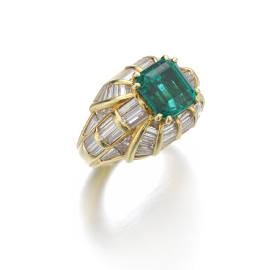 View 2. Thumbnail of Lot 180. EMERALD AND DIAMOND RING.