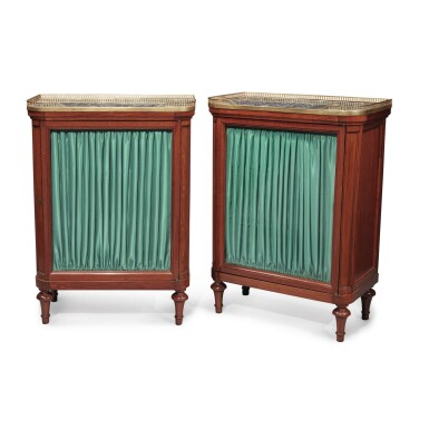 View 2. Thumbnail of Lot 127. A Pair of Louis XVI Mahogany Side Cabinets by Jean-François Leleu, Second Half 18th Century.