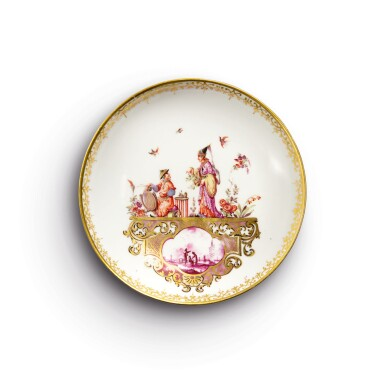 A MEISSEN SAUCER FROM THE SERVICE MADE FOR CLEMENS AUGUST, ELECTOR OF COLOGNE CIRCA 1735