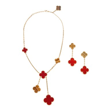View 1. Thumbnail of Lot 11. CARNELIAN AND TIGER'S EYE 'MAGIC ALHAMBRA' NECKLACE AND PAIR OF EARCLIPS, VAN CLEEF & ARPELS, FRANCE.