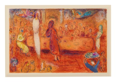 MARC CHAGALL | MEGACLES RECOGNIZES HIS DAUGHTER AT THE FEAST (M. 347; SEE C. BKS. 46)