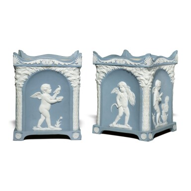 A PAIR OF WEDGWOOD BLUE AND WHITE JASPERWARE SQUARE-SECTION BULB POTS AND COVERS CIRCA 1790