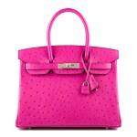 Hermès Rose Pourpre Ostrich Birkin 30cm Palladium Hardware