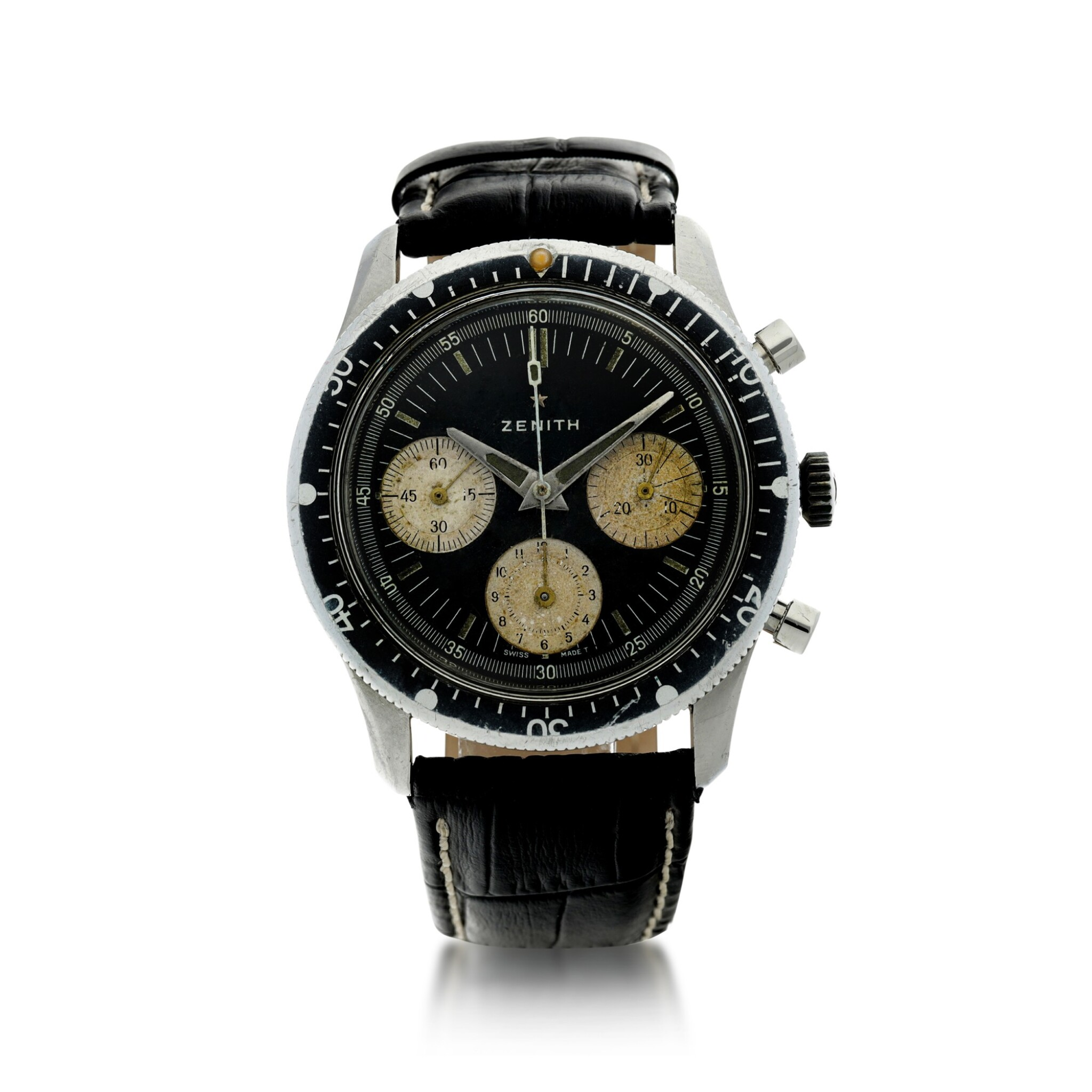 View full screen - View 1 of Lot 81. ZENITH | A STAINLESS STEEL CHRONOGRAPH WRISTWATCH, CIRCA 1970.