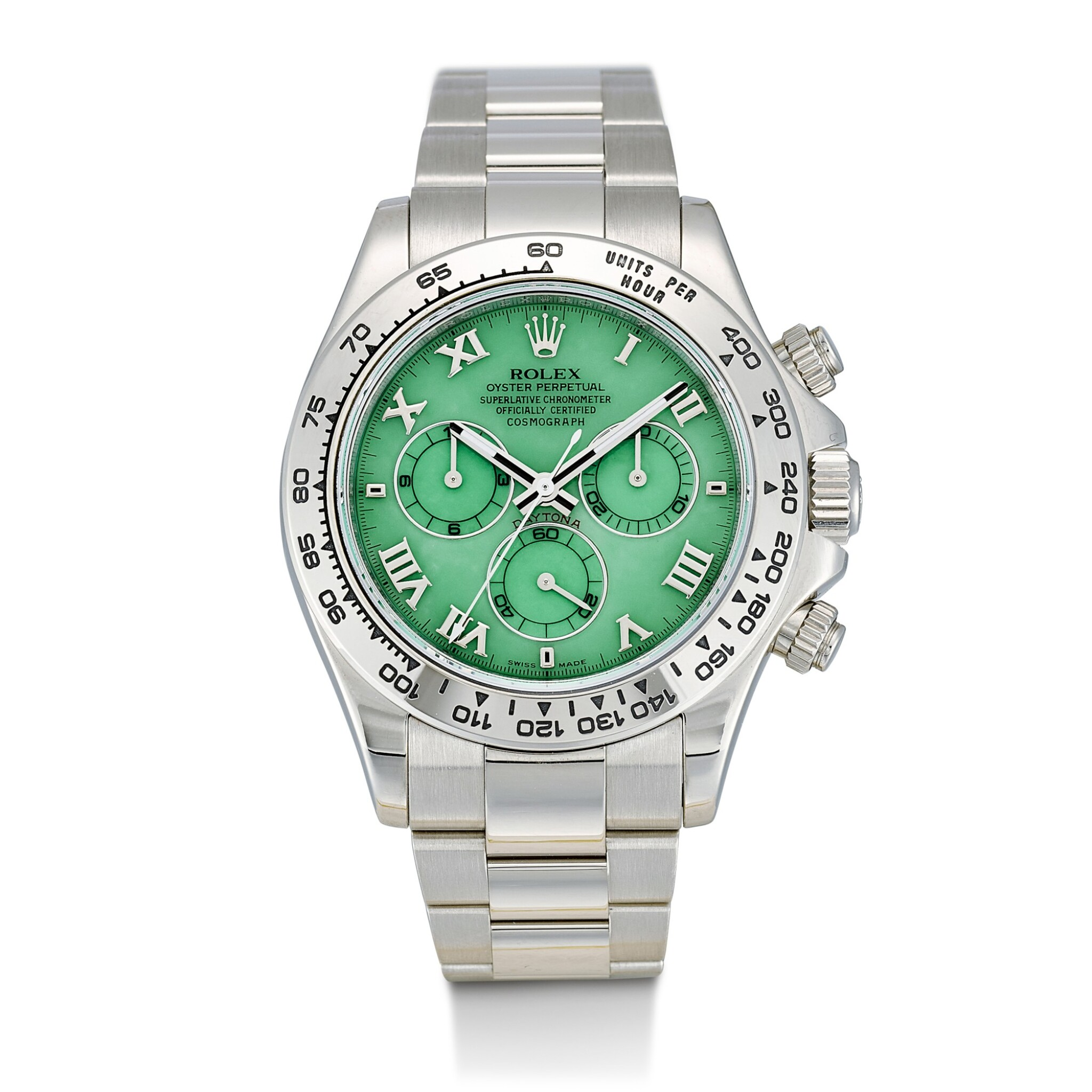 View full screen - View 1 of Lot 164. ROLEX | COSMOGRAPH DAYTONA, REFERENCE 116509H, A WHITE GOLD CHRONOGRAPH WRISTWATCH WITH GREEN CHRYSOPRASE DIAL AND BRACELET, CIRCA 2015.