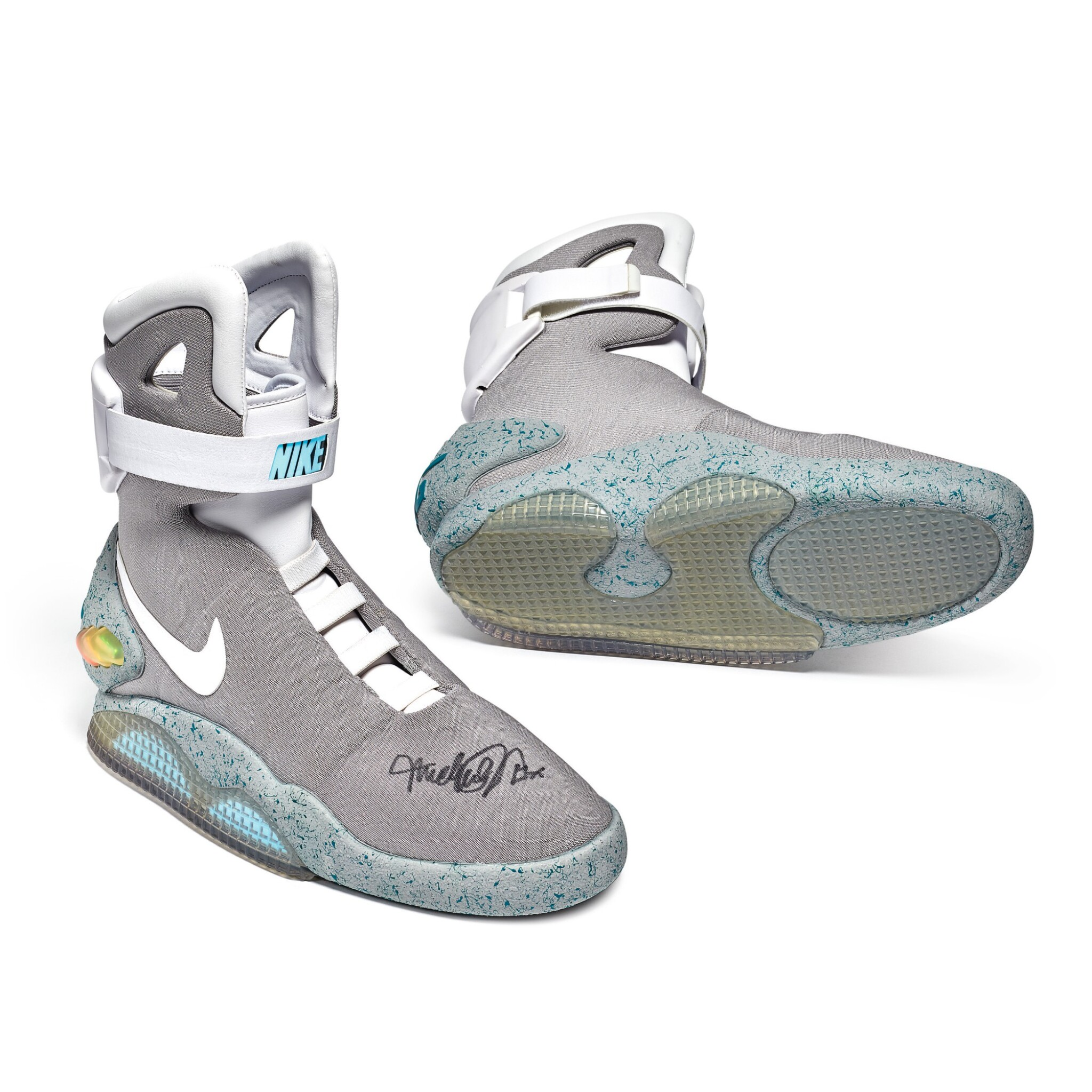 View full screen - View 1 of Lot 1. Nike MAG 'Back to the Future' | 2011 | Dual Signed by Michael J. Fox.